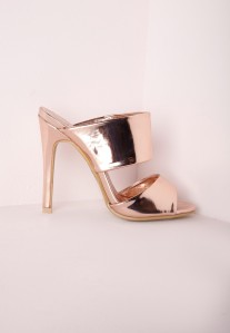 Misguided SLIP ON MULES ROSE GOLD  £30