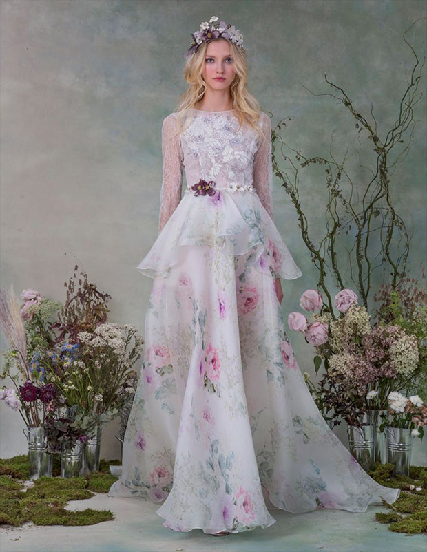 Or for Brides who really want to make an impact how about this by Elizabeth Fillmore? We love the watercolour painted effect skirt and the delicate floral appliqués