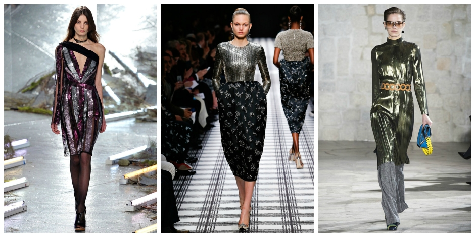 Metallic dresses on the catwalks