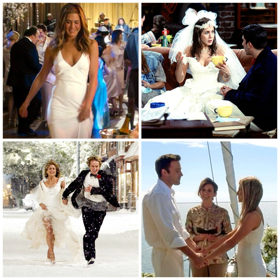 montage of Jennifer Aniston in wedding dresses