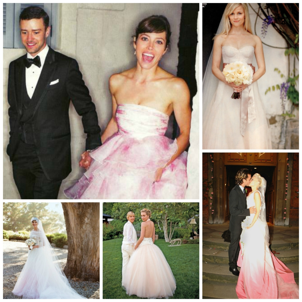 Celebrities in Pink Wedding Dresses