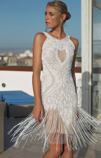 Riki Dalal Fringe Wedding Dress