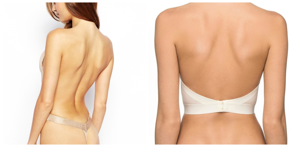 From Left | Fashion Forms U Plunge Backless Strapless Bodysuit | Asos | Ultimo Nude low back strapless bra| via Debenhams