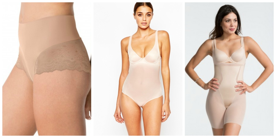 From Left | UNDIE-TECTABLE LACE HI-HIPSTER PANTY | Spanx | WOLFORD SHEER TOUCH FORMING STRING BODY | Via Asos | HAUTE CONTOUR OPEN-BUST MID-THIGH BODYSUIT | Spanx