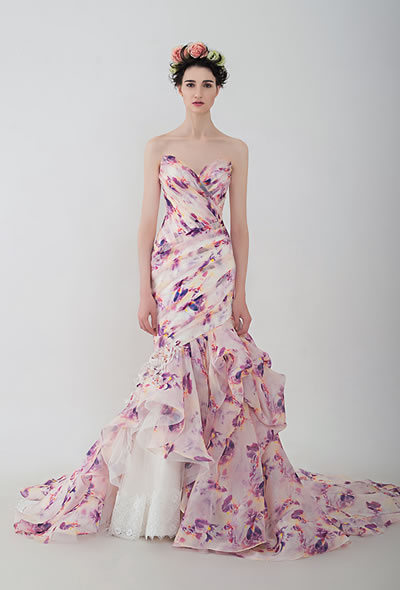 Vasanti | AnnyLin | 2016 Floral printed mermaid wedding dress