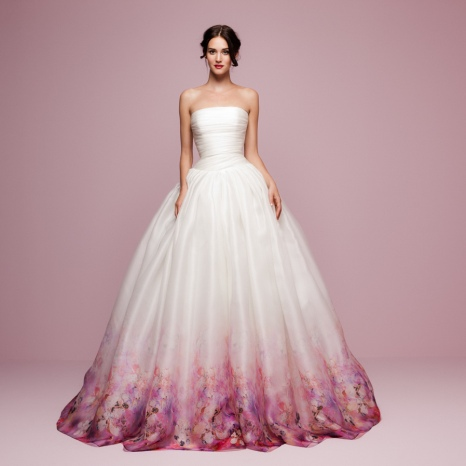 Daalarna | Flower Collection |FLW 963 Blush coloured full ballgown floral printed pink wedding dress