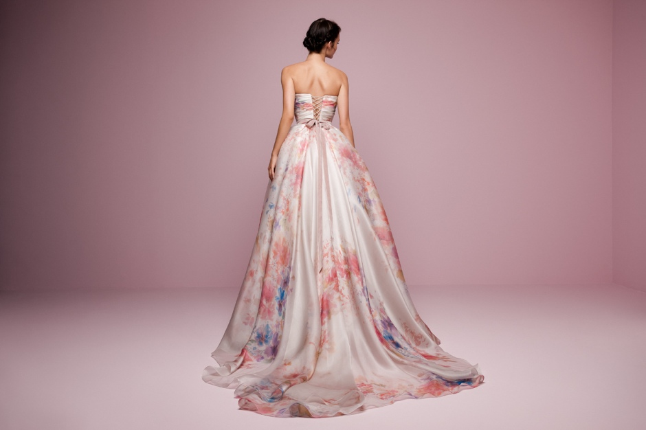 Daalarna | Style FLW931 | Flower Collection blush pink floral watercolour printed wedding dress in pink and purple with lace up back