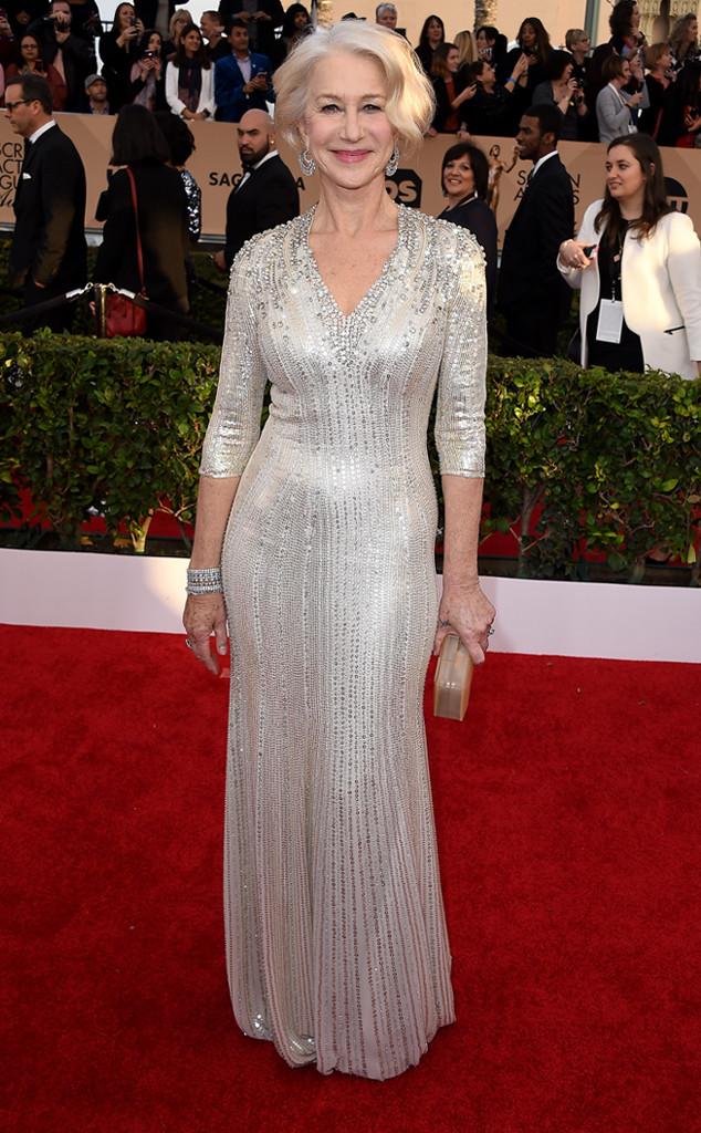 Helen Mirren metallic Jenny Packham SAG