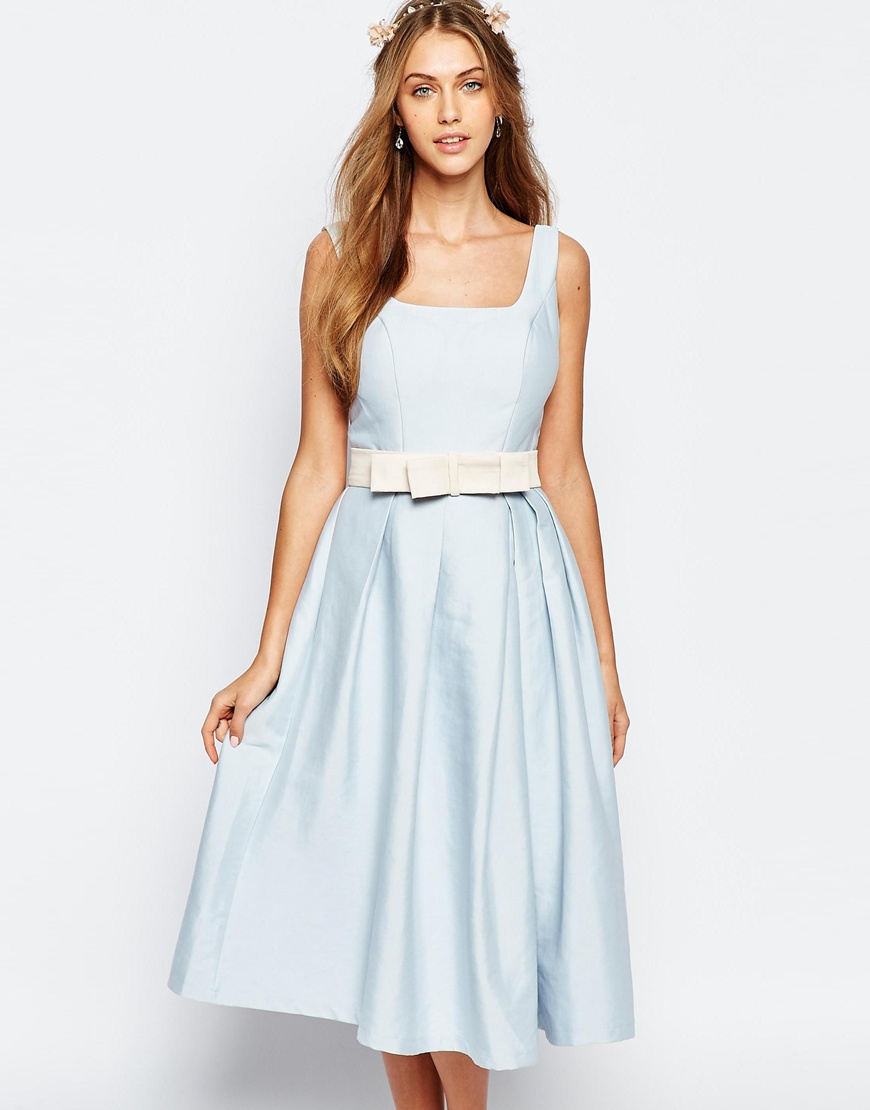 Chi Chi London Round Neck Midi Prom with Box Pleats | ASOS | £65