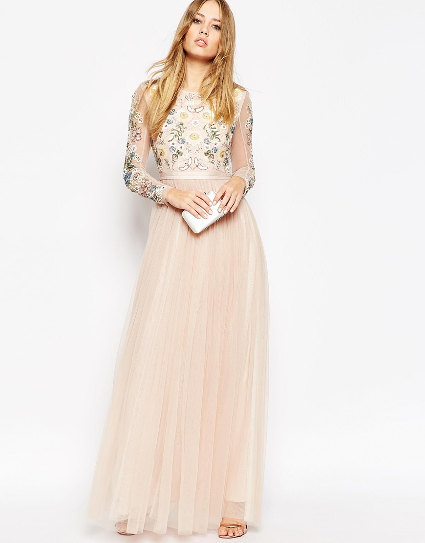 Needle & Thread Backless Sheer Sleeve Tulle Embellished Maxi Dress | ASOS | £200