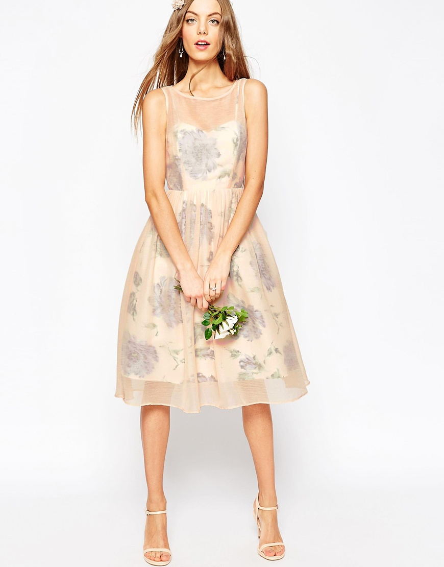 ASOS WEDDING Printed and Sheer Layer Prom Dress | Asos |£70