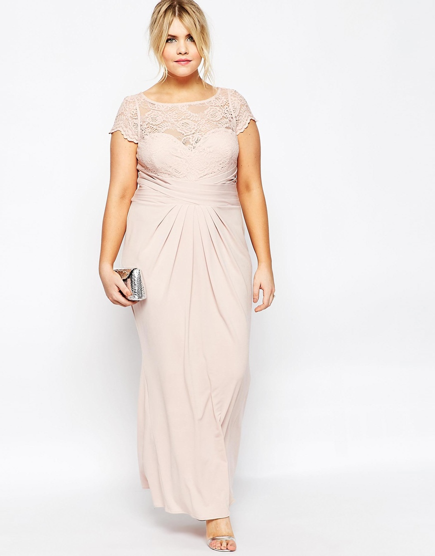 ASOS Curve Wedding Pleated Maxi Dress with Lace Top | Asos |£65