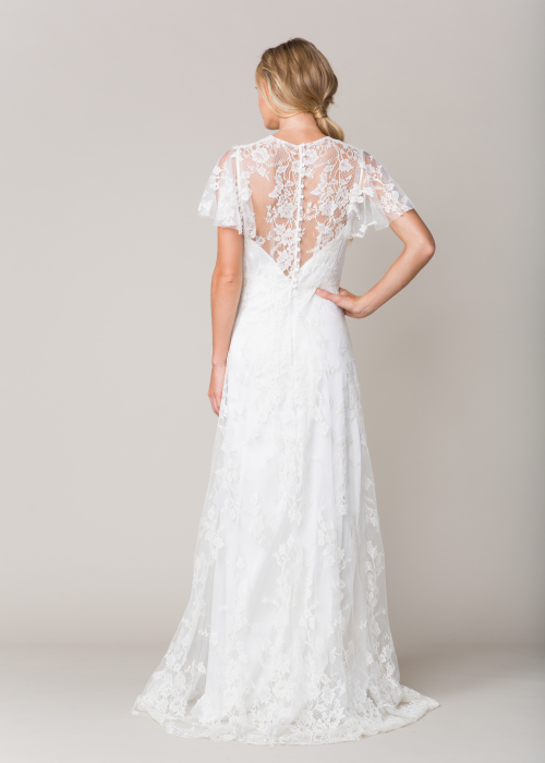 Lace wedding dress capped sleeves by Sarah Seven
