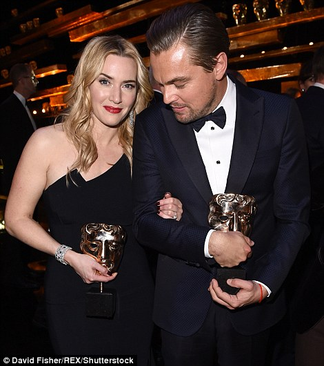 Kate Winslet and Leonardo DiCaprio at BAFTAs 2016