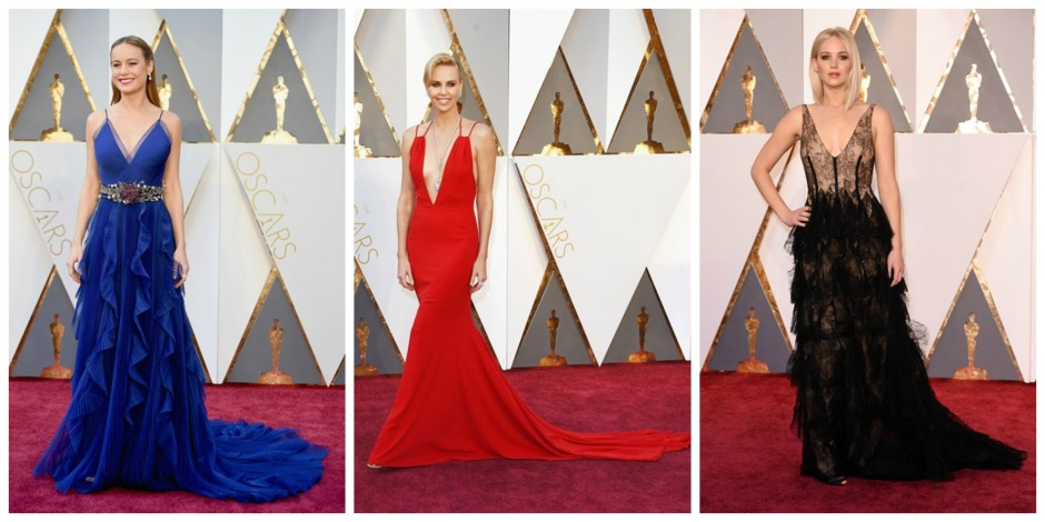 Plunging neckline Oscar gowns featuring Brie Larson, Charlize Theron & Jennifer Lawrence: All images from Vogue.com