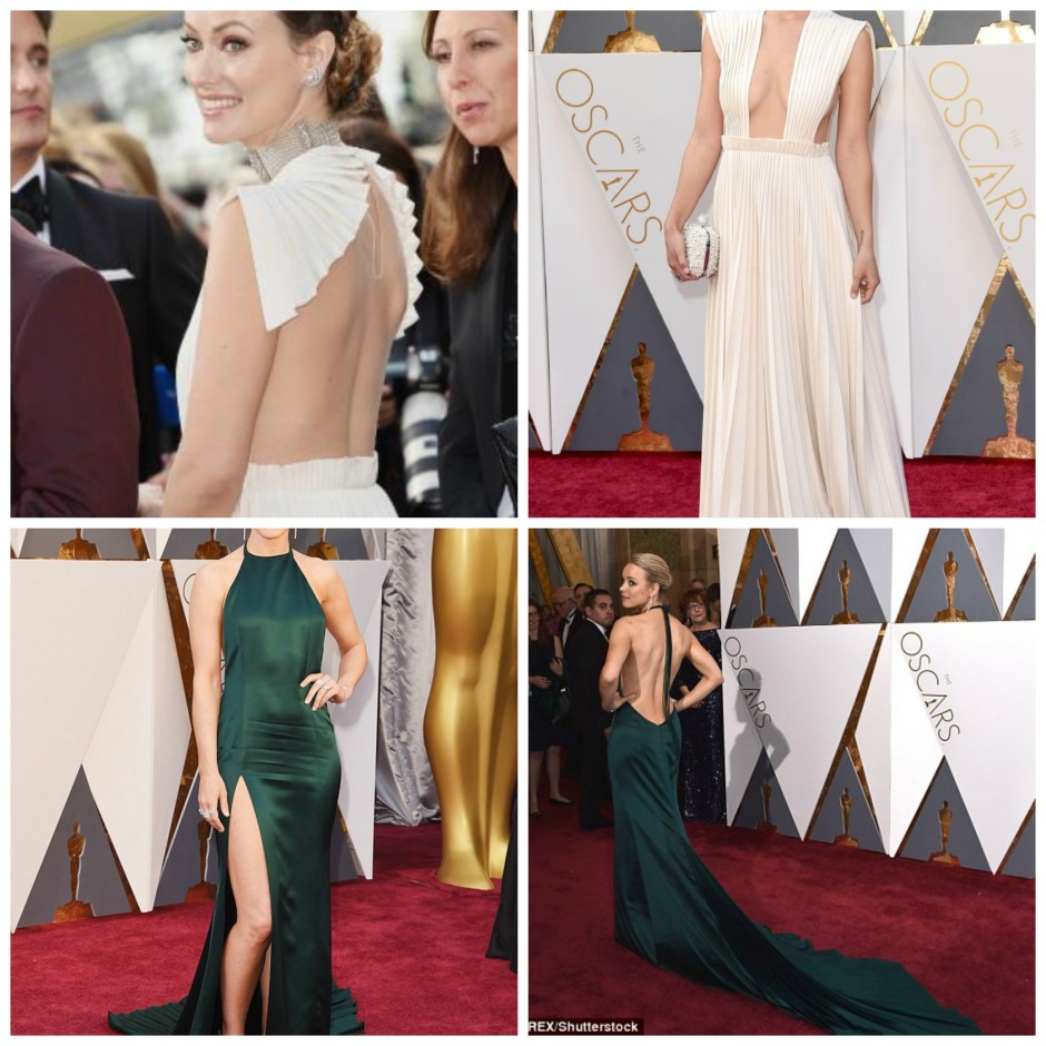 Statement back 2016 Oscar gowns worn by Olivia Wilde & Rachel McAdams: Source: Daily Mail.com