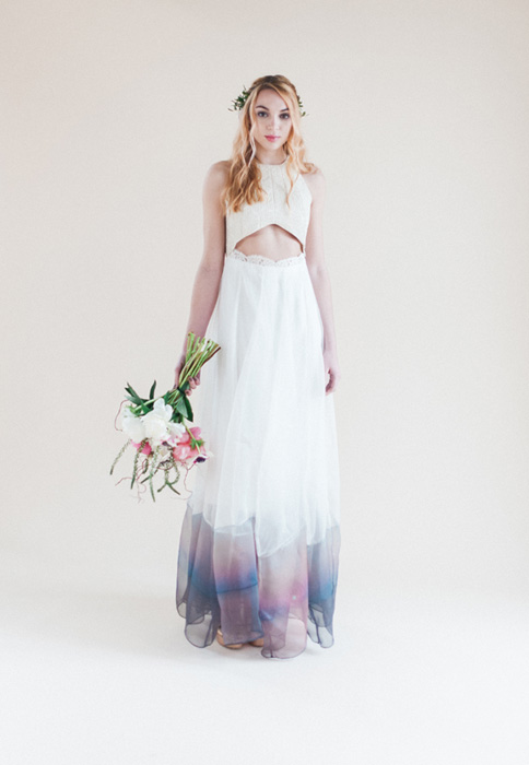 printed coloured wedding dress