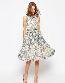 ASOS  Midi Dress With Rouche Panel Detail In Print  £55