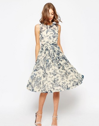 ASOS| Midi Dress With Rouche Panel Detail In Print |£55