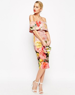 ASOS  Printed Bardot Off The Shoulder Hitchcock Midi Pencil Dress £60