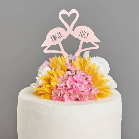 Flamingo Couples Cake Topper | Owl & Otter