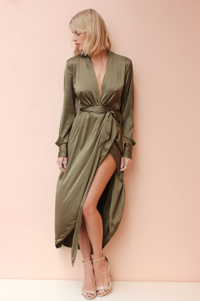 Never Fully Dressed Satin Maxi Khaki