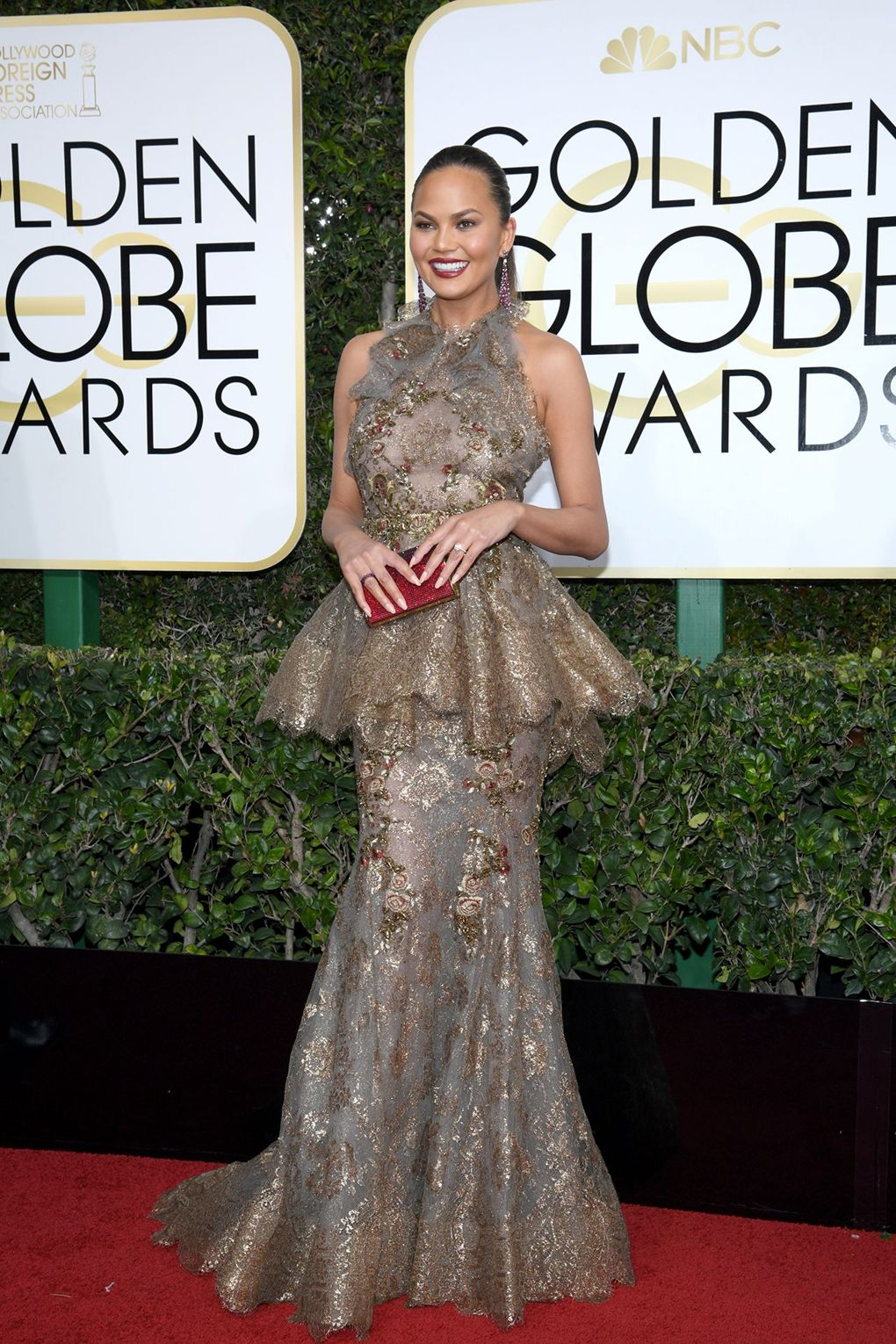 Chrissy Teigen at The Golden Globes 2017