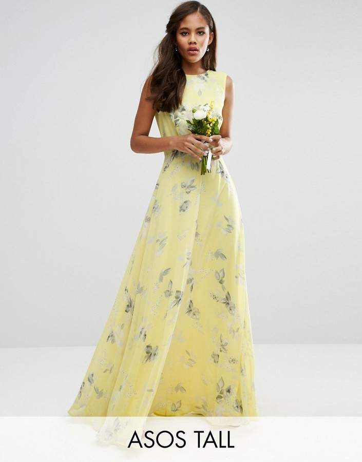 ASOS TALL WEDDING MAXI DRESS IN SUNSHINE FLORAL PRINT