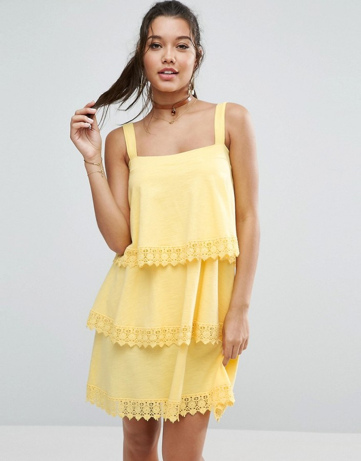 ASOS TIERED LACE DETAIL SUNDRESS