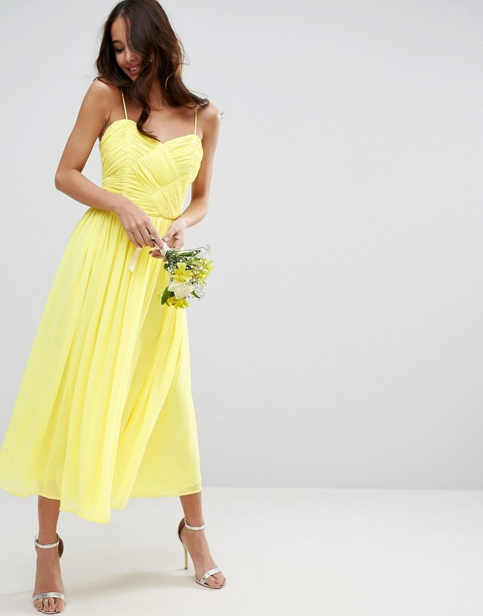 ASOS WEDDING ROUCHED MIDI DRESS YELLOW