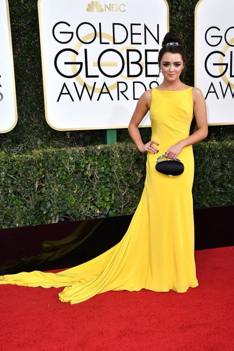 Maise Williams in her yellow dress at The Golden Globes 2017