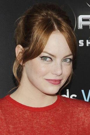 Emma Stone hair and makeup 60's vibe ponytail