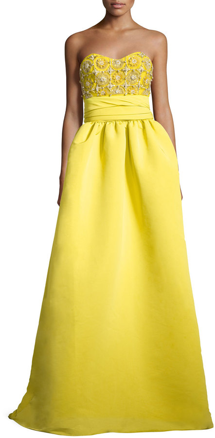 MARCHESA NOTTE STRAPLESS FAILLE GOWN WITH EMBELLISHED BODICE, CHARTREUSE
