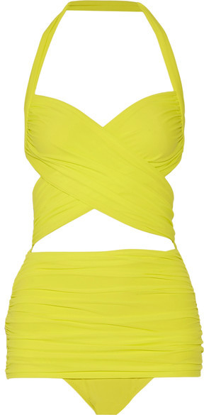 NORMA KAMALI - XO BILL MIO HALTERNECK SWIMSUIT - BRIGHT YELLOW