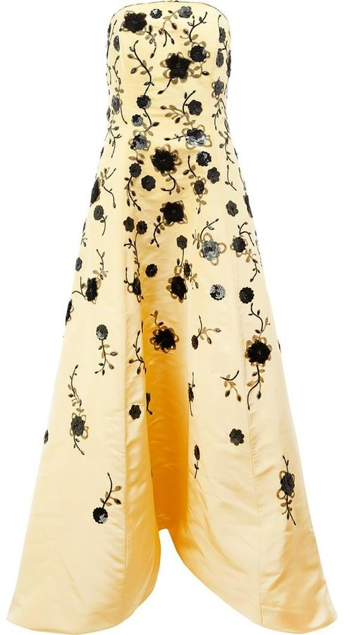 Oscar De La Renta Sequinned Flowers Strapless Gown