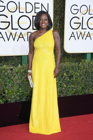 Viola Davis in a yellow dress by Michael Kors Collection at Golden Globes 2017