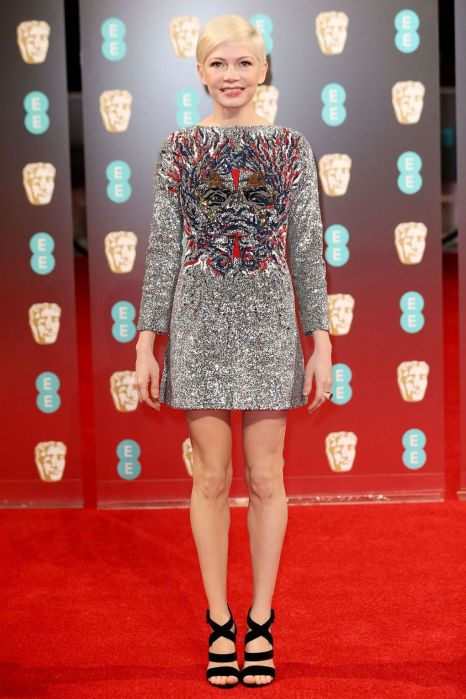 Michelle Williams in short Louis Vuitton dress at BAFTAs 2017