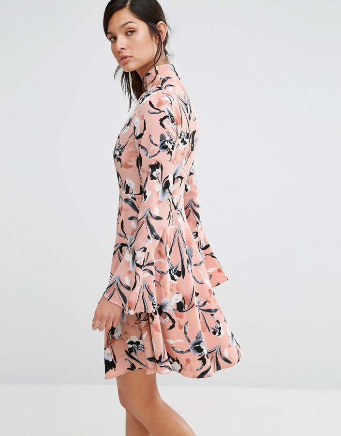neon-rose-high-neck-dress-with-flare-sleeves-in-iris-print