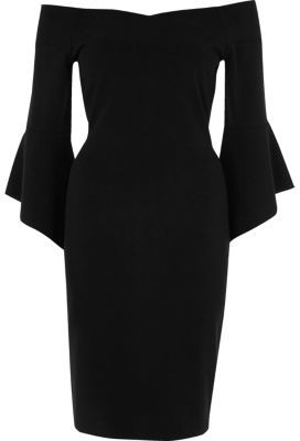 river-island-womens-black-bell-sleeve-bardot-bodycon-midi-dress