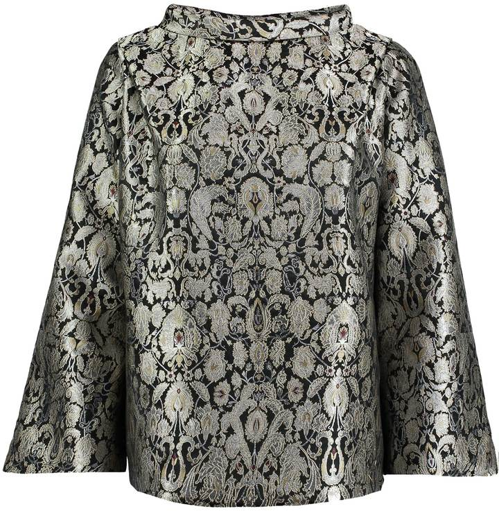 sania-studio-silver-brocade-flared-sleeve-top