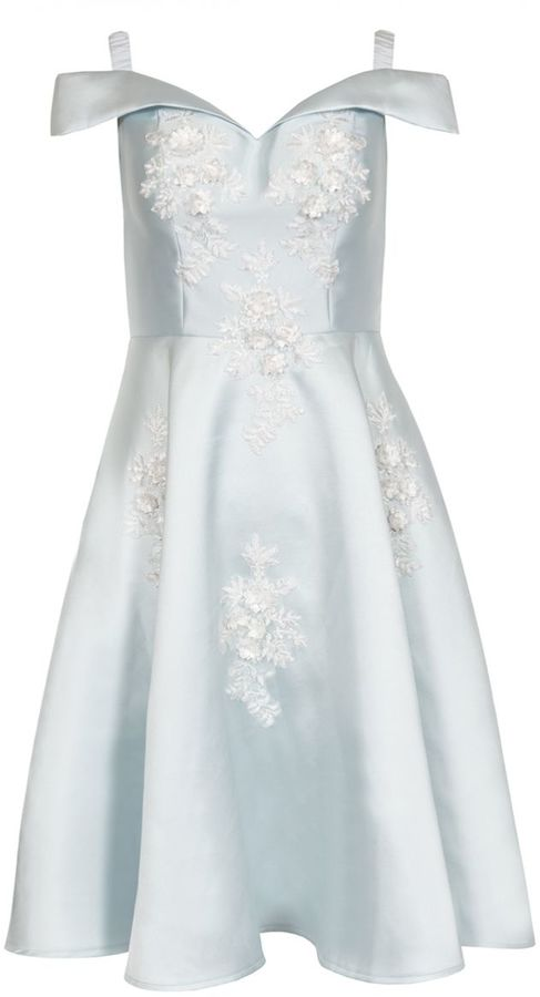 Satin Flower Embellished BBG Midi