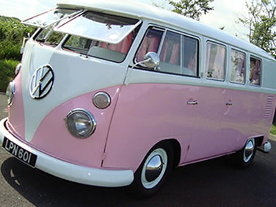 Candy pink camper van