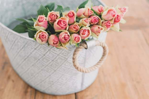 Candy roses in basket