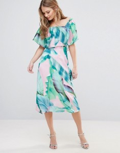 Every Cloud Palm Print Midi Dress