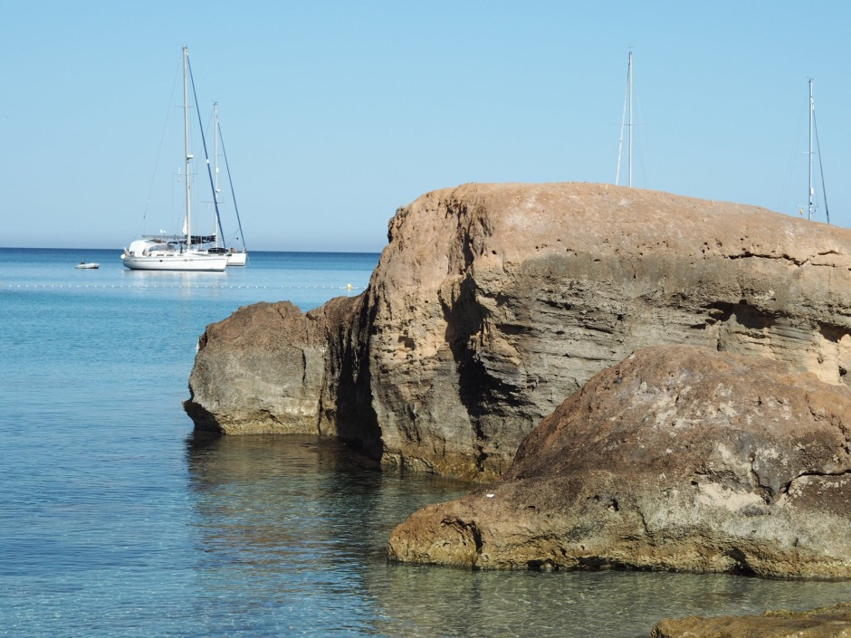 Boat and Rock Ibiza Coast