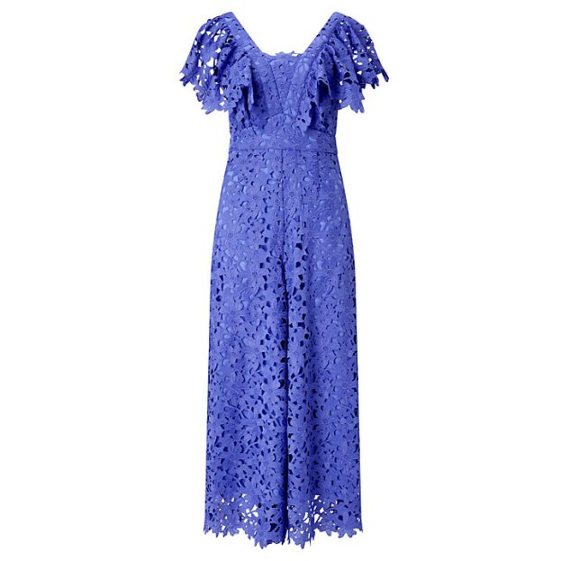 Somerset by Alice Temperley Lace Frill Jumpsuit, Blue