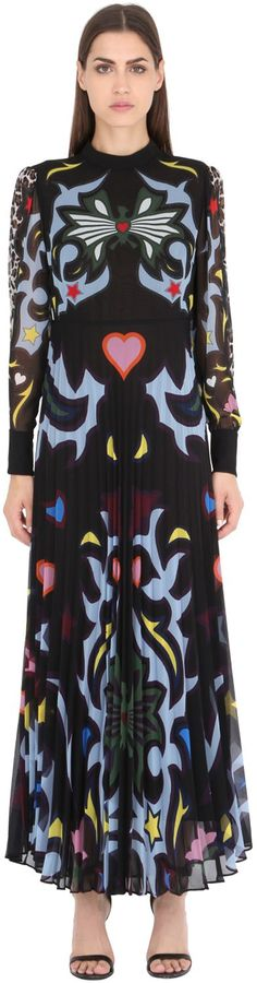 MARY KATRANTZOU LEOPARD & BUTTERFLY GEORGETTE DRESS