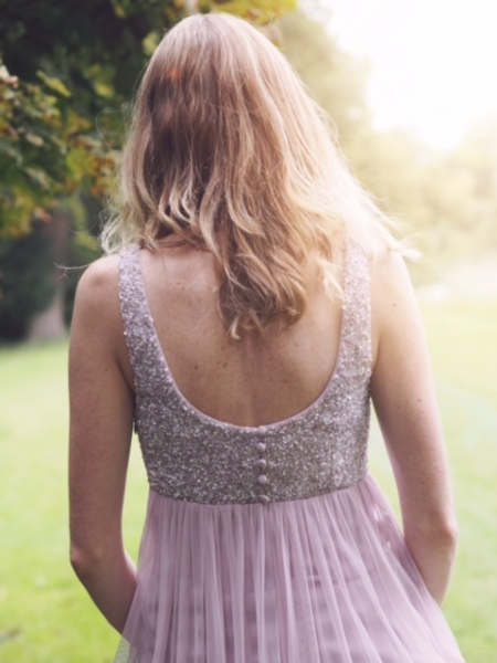 Pale pink scoop back embellished bridesmaid dress