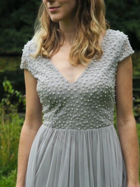 Grey pearl embellished bridesmaid dress