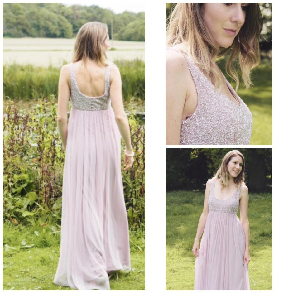 Motee Maids pink winter bridesmaid dress